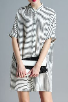 Ziyi White Striped Stand Neck Loose Fitting Dress | Shirt Dresses at DEZZAL