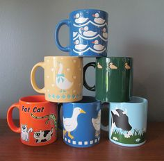 {set of vintage Waechtersbach Mugs} great collection! the Fat Cat one is my fav, of course :)