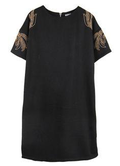 Black Beading Totem Short Sleeve Dress
