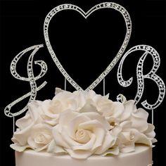 Large Vintage Swarovski Crystal Monogram Single Heart Cake Topper   A Moment In Time Boutique