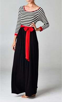 Women's Modest Color Block Maxi Dress with self belt available at www.apostolicclothing.com #modesty #modestfashion #dresses