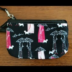 """Cute """"London"""" Wristlet! Stylish wristlet with detachable wrist strap, NWOT. Says """"London"""" scattered throughout pattern. Perfect for phone, lipstick, credit cards, or other small items. 100% polyester with vinyl trim. So cute!! Bags Clutches & Wristlets"""
