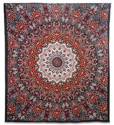 Mandala Star Indian Wall Hanging Cotton Tapestry Queen Red Decor Throw 92X82 Inches NTP24