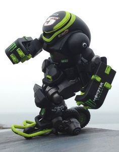 Black and green robot
