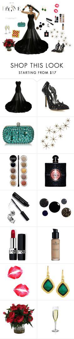 """Prive party"" by the-designerduchess ❤ liked on Polyvore featuring Oscar de la Renta, Global Views, Giorgio Armani, Yves Saint Laurent, Bobbi Brown Cosmetics, Christian Dior and Armenta"