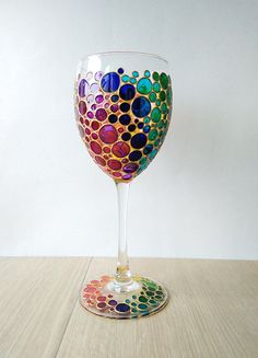 Rainbow Wine Glass Multi Colored Bubbles Hand Painted wine