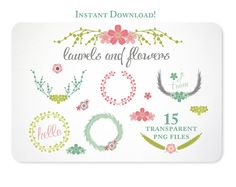 Laurels and Flowers Design Elements  Instant by KellyJSorenson, $5.00