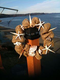 BEACHY BURLAP WREATH beach decor nautical wreath by justbeachynow, $45.00