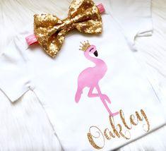 Flamingo birthday outfit, flamingo party shirt, girls flamingo outfit, first Birthday Flamingo outfit, aloha, flamingo bodysuit, flamingo by PerfectlyPINKBow on Etsy https://www.etsy.com/listing/605783307/flamingo-birthday-outfit-flamingo-party
