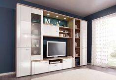 Compact wandmeubel 4-delig Living Room Bookcase, Living Room Wall Units, Living Room Tv Unit Designs, Home Design Living Room, Living Room Interior, Modern Tv Room, Modern Tv Wall Units, Tv Unit Decor, Tv Wall Decor
