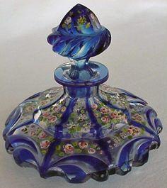 Antique French Blue Cut Glass Perfume Bottle,love perfume bottles,should start a… Antique Perfume Bottles, Vintage Perfume Bottles, Blue Perfume, Cristal Art, Perfumes Vintage, Bottles For Sale, Beautiful Perfume, Vases, Glass Art