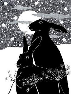 Art print Black hares Ink drawing Ink Illustration 10 by caitlihne Art And Illustration, Rabbit Illustration, Street Art, Rabbit Art, Bunny Art, Pics Art, Oeuvre D'art, Printmaking, Artsy