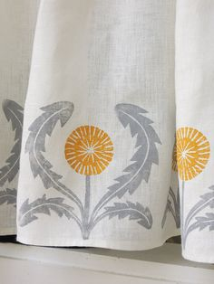Dandelion Cafe Curtain hand printed in gray and yellow ochre 57 x 27 inch home decor set of two panels on Etsy, $82.00