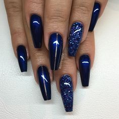 Navy Blue Nails Acrylic Coffin Matte For Dummies 130 - Best Nail Art Designs Dark Blue Nails, Navy Nails, Blue Coffin Nails, Blue Acrylic Nails, Acrylic Nail Designs, Nail Art Designs, Nails Design, Burgundy Nails, Blue Nails With Glitter