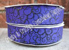 """7/8"""" Dark Fairy Tale Maleficent Inspired - Thorn Swirl  - Purple - Glitter - US Designer Printed Ribbon - 1yd, 3yd or 5 yd"""