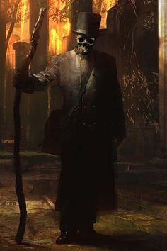 Baron Samedi, the strongest Loa in the pantheon of the Ghede -- The Dead. His duties, among others, include standing as the guardian of the gate between the dead and the living.
