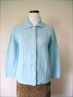 Vintage Cardigan / 60's Baby Blue Sweater / by KikuVintageBoutique, $32.00