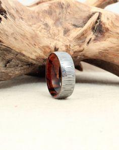 Damascus Steel and Wood Ring Arizona Desert by WedgewoodRings