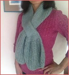 Lunar Azul - A Stylish Scarf With A Touch Of Lace & Ribbing