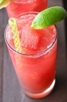 """Watermelon """"ice cubes"""" and fresh lime juice are the stars of this simple and refreshing cocktail. Perfect for light dinner drinks and sweet enough to be considered dessert."""