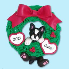 boston terrier puppy dog hanging in wreath handmade polymer clay personalized christmas ornament dog christmas ornaments - Boston Terrier Outdoor Christmas Decoration