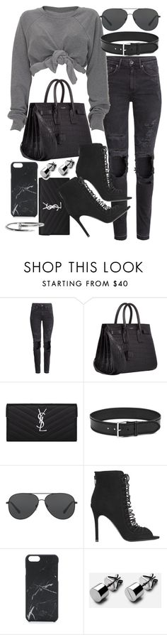"""""""Untitled #20197"""" by florencia95 ❤ liked on Polyvore featuring H&M, Yves Saint Laurent, Linea Pelle, Michael Kors, Kendall + Kylie and Native Union"""