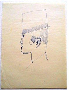 Elie Nadelman-Profile Head of Man in Top Hat ca. 1918 - 1920