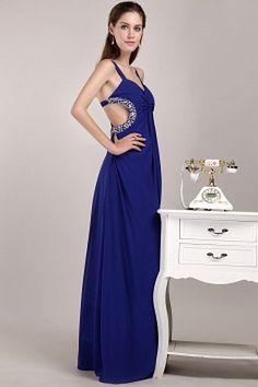 V-Neck Elegant Blue Celebrity Gowns - Order Link: http://www.theweddingdresses.com/v-neck-elegant-blue-celebrity-gowns-twdn1749.html - Embellishments: Crystal , Ruched; Length: Floor Length; Fabric: Chiffon; Waist: Natural - Price: 157.85USD