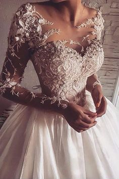Illusion Jewel Neck Long Sleeves Sweep Wedding Dress With Appliques TN0039
