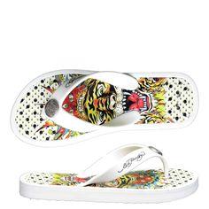 Ed Hardy Flip Flop Kids Sandal Beach-Comber - White - Yvonne's Kids Flip Flops, Kids Sandals, Fashion Shoes, Slip On, Sneakers, Beach, Blog, Shopping, Tennis
