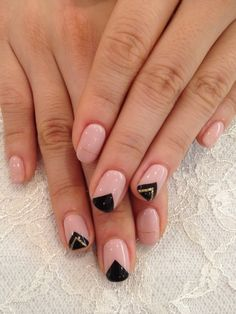 Nude, black, gold glitter and triangles.