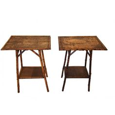 Pair of 19th century English bamboo side tables.