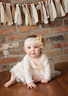 Baby Headband Large Shabby Chic Beige/Tan and by LilusBabyBowtique