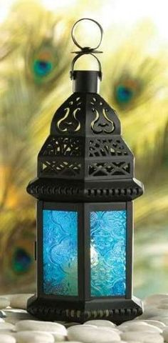 Blue Glass Moroccan Candle Lantern