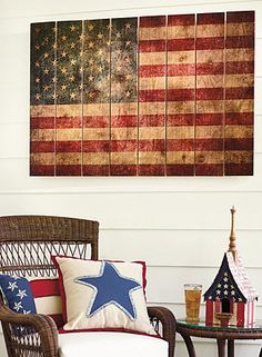 Rustic flag - 1x4s, paint, sand, stain, seal  ~~ Love the flag, pillow & birdhouse.