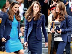 Kate artfully remixes her wardrobe, Her one-button Smythe blazer accompanied her on last year's trip to Canada & has been a staple in her Olympics uniform, worn with simple dresses & skinny jeans.