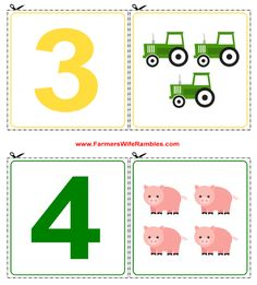 These fun and free printable counting cutouts are filled with construction equipment and farm animals. Print two sets and you have your own set of memory cards for 0-9.
