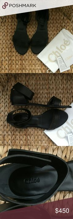 NIB Chloé Black Leather Ankle Wrap Flats 40M Gorgeous black leather flats by Chloé.  New in box with dustbag. Ankle wrap strap.has a velcro closure which is super secure. So cute! Never wore them and I'm not sure why :/ Chloe Shoes Sandals
