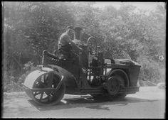 "Asphalt steam roller. ""Mrs. Skeel's"" Heavy Construction Equipment, Road Construction, Heavy Equipment, Vintage Cars, Antique Cars, Old Tools, Custom Trucks, Old Trucks, Electric Cars"