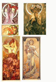 5  ART NOUVEAU  BLANK NOTE CARDS - Studioart88 Clark Art, White Envelopes, Note Cards, Art Nouveau, Notes, Prints, Handmade, Painting, Report Cards