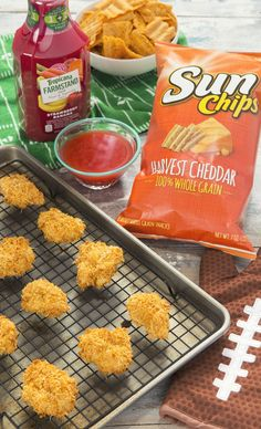 You won't believe how good this Sun Chips breading is on popcorn chicken. Top it off with Tropicana Farmstand dipping sauce for extra flavor! Love all these creative dishes  for the @PepsiCo Game Day Grub Match. Enter now using #GameDayGrubMatchEntry.  Via @happysolez