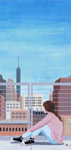 New wallpaper desenho aquarela Ideas Blue Wallpaper Iphone, Pastel Wallpaper, Cute Wallpaper Backgrounds, Blue Wallpapers, Girl Wallpaper, Cartoon Wallpaper, Trendy Wallpaper, Backgrounds Girly, Perfect Wallpaper