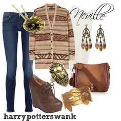 Harry Potter + Fashion. This would look cute with a black tank top underneath the sweater too.