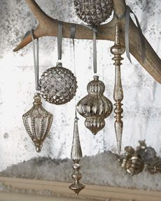 """mercury glass"" vintage style ornaments: use mirror glass spray on old or inexpensive ornaments"