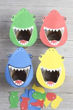 Today we have a fun Feed the Shark, color sorting game! This is a great shark activity for preschoolers and we even offer a free printable Feed the Shark Template! This week we are working Shark Activities, Shark Games, Preschool Learning Activities, Color Activities, Infant Activities, Preschool Activities, Kids Learning, Learning Games, Visual Motor Activities