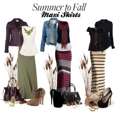"""""""Summer to Fall: Maxi Skirts"""" by deborah-simmons on Polyvore Love it all but the shoes...I'd go with flats!"""