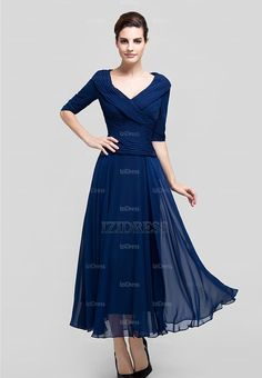 A-Line/Princess V-neck Ankle-Length Ruffle Chiffon Zipper Up Sleeves Sleeves 2015 Royal Blue Spring Fall Winter General Mother of the Bride Dress Cocktail Dresses Online, Evening Dresses Online, Chiffon Evening Dresses, Cheap Evening Dresses, Womens Cocktail Dresses, Evening Gowns, Dress Online, Evening Party, Cheap Dress