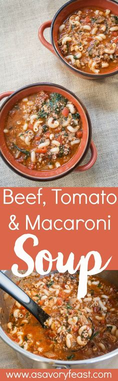 This quick Beef, Tomato and Macaroni Soup is a delicious way to warm up this winter! Hidden veggies make it a healthy meal the whole family will love. This soup doesn't take long to make, but is packed with lots of flavors and healthy ingredients.
