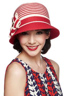 Keep Your Friends Cloche Hat in Red. Your fantastic pals will never want to leave your side once you arrive at todays outdoor luncheon wearing this two-tone, straw cloche hat. #red #modcloth