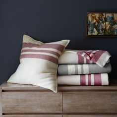 Border Stripe Blanket + Shams | west elm